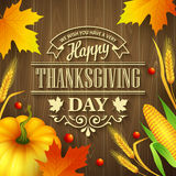 Hand drawn thanksgiving greeting card with leaves Royalty Free Stock Photo