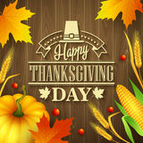 Hand drawn thanksgiving greeting card with leaves Royalty Free Stock Image