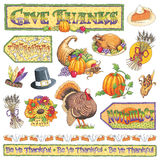 Hand-drawn Thanksgiving Illustrations Stock Images