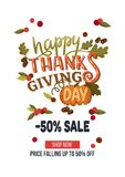 Hand drawn thanksgiving sale banner template with leaves, pumpki Stock Images