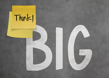 Hand drawn Think BIG phrase on sticky note Royalty Free Stock Image