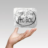 Hand drawn think outside the box Stock Images