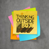 Hand drawn THINKING OUTSIDE OF THE BOX on sticky note Royalty Free Stock Photography