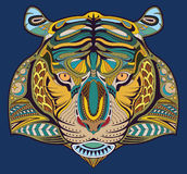 Hand drawn tiger coloring page vector EPS10. Abstract tiger head on a blue background. tattoo vector Royalty Free Stock Image