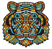 Hand-drawn tiger with ethnic pattern. Coloring page - zendala, design for spiritual relaxation for adults, illustration. Isolated on a white background. Zen stock illustration