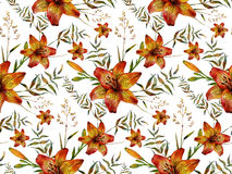 Hand drawn tiger lily seamless pattern Stock Images