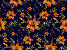 Hand drawn tiger lily seamless pattern Stock Photography