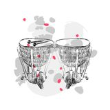 Hand drawn timpani. On a white background with blots Royalty Free Stock Image