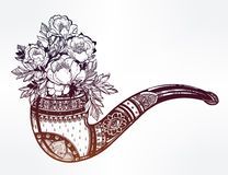 Hand drawn tobacco pipe with  floral bouquet. Royalty Free Stock Image