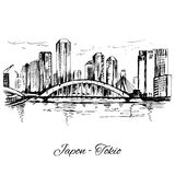 Hand drawn Tokio cityscape scene. On white background Royalty Free Stock Photos