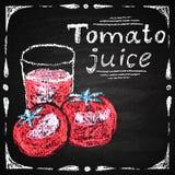 Hand drawn tomato, tomato juice. Royalty Free Stock Photo