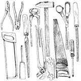 Hand drawn tool kit Royalty Free Stock Photos