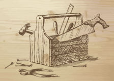 Hand drawn toolbox Stock Images