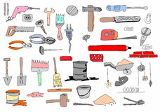 Hand drawn tools doodles Royalty Free Stock Images