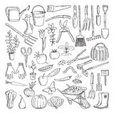 Hand drawn tools for farming and gardening. Doodle of nature environment Royalty Free Stock Photography