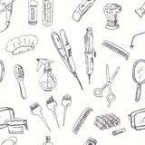 Hand drawn Tools for make-up and hairstyle seamless pattern. Stock Photos