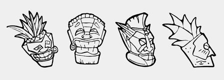 Hand drawn totem face symbol set Royalty Free Stock Photography