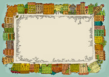 Hand drawn town square. Simple hand drawn town square Royalty Free Stock Photo