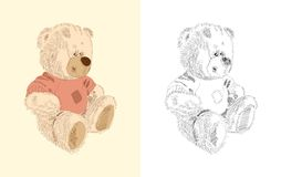 Hand drawn toy - brown teddy Stock Images