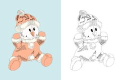 Hand drawn toy - snowman, doll Stock Image
