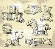 Hand drawn toys Stock Photo