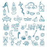 Hand drawn toys for boys. Vector set of different toys Royalty Free Stock Photos