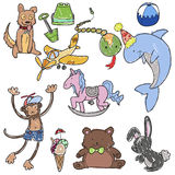 Hand drawn toys. Set of childish hand drawn toys Stock Image