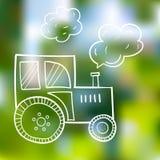Hand-drawn tractor, in een beeldverhaalstijl, de primitieve onderwerpen van landbouw, zwarte contour op de zomerachtergrond Stock Afbeelding
