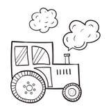 Hand-drawn tractor, in een beeldverhaalstijl, de primitieve onderwerpen van landbouw, zwarte contour op witte achtergrond Royalty-vrije Stock Fotografie