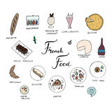 Hand drawn traditional french cuisine menu. French food with baguette, macaron, mousse au chocolat, cafe liegeois, quiche, mille feuille, eclaire, camembert Royalty Free Stock Image