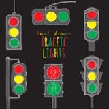 Hand drawn traffic light set Stock Image