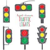 Hand drawn traffic light set Stock Photos