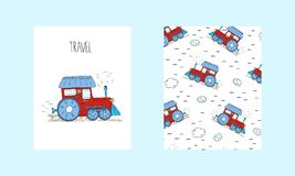 Hand Drawn train cartoon vector card. Printable templates.  Royalty Free Stock Images