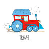 Hand Drawn train cartoon vector illustration. Printable templates stock illustration