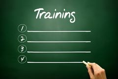 Hand drawn Training blank list concept on blackboard Royalty Free Stock Images