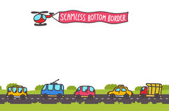 Hand drawn transport bottom seamless border Royalty Free Stock Images