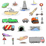 Hand-drawn transport set Stock Photo