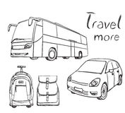 Hand drawn transport set. Backpack for travel Royalty Free Stock Photos