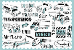 Hand drawn transport set 01. Vintage transportation illustration with vehicle related words in hand drawn style Stock Image