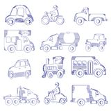 Hand Drawn Transportation Icon Set Royalty Free Stock Images