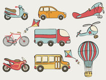 Hand-drawn transportation icon set Stock Images