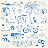 Hand drawn travel doodles vector illustration Royalty Free Stock Images