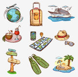 Hand drawn travel icons traveling on airplane Stock Image