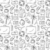 Hand Drawn Travel Pattern. Doodle Illustration Stock Photo