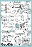 Hand drawn travel set 01. Vintage travel illustration with map and travel guide related words in hand drawn style and on the grid background. All text and Stock Photos
