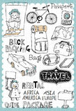 Hand drawn travel set 02. Vintage travel illustration with map and travel guide related words in hand drawn style and on the grid background. All text and Royalty Free Stock Photography