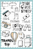 Hand drawn travel set 03. Vintage travel illustration with map and travel guide related words in hand drawn style and on the grid background. All text and Royalty Free Stock Photography