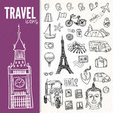 Hand-drawn travel symbols set Stock Image