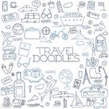 Hand drawn travel, tourism doodles elements illustration. Stock Image