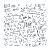 Hand drawn travel, tourism doodles elements illustration. Royalty Free Stock Image